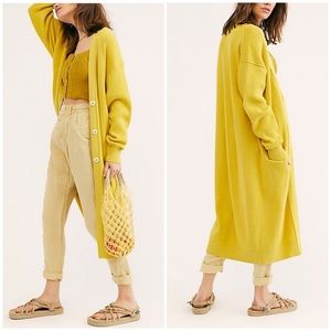 Free People Run To You Yellow Duster Cardigan